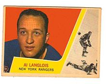 Albert Langlois Jr a joué au sein des Rangers de New-York. Source: Wikimedia Commons