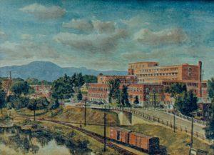 L'hôpital La Providence peinte sur une toile - Fonds studio RC. La Société d'histoire de Magog